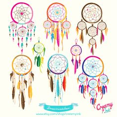 Dreamcatcher digital clip art featuring different types and colors of beautiful dreamcatcher. #clipart #vector #design See more at CreamyInk.etsy.com
