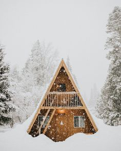 Over the river and through the woods. Photo by A Frame Cabin, A Frame House, Vintage Cabin, Cabin Kits, Little Cabin, Cabins And Cottages, Log Cabins, Cozy Cabin, Cabin Homes
