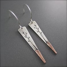 Long Inverted Triangle Tree Landscape Earrings Silver & Copper