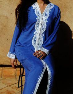 Blue Grey Moroccan Caftan Dress Long  Lella  by MaisonMarrakech, $69.99