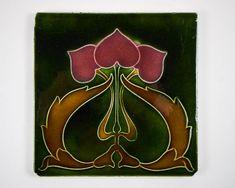 Antique English Corn Bros Art Nouveau majolica pottery tile
