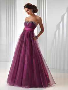 Sweetheart A-Line Purple Floor Length Tulle Overlaid Evening Gown of Beaded Accent