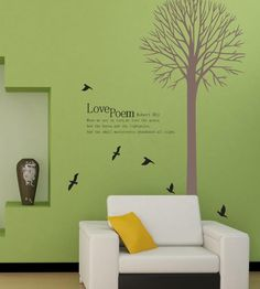 wall decal stickers -Love Poem by Robert Bly Wall Decal Tall Tree with Black Birds Art Removable Wall Sticker - - http://Amazon.com