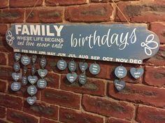 Family birthday calendar from wood