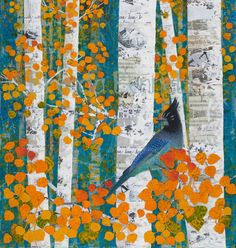 Blue Encounter - Gallery Wrapped Canvas Print of an Original Mixed Media Paper Collage by Brenda Bennett Art Tree Collage, Paper Collage Art, Paper Art, Collage Artwork, Mixed Media Canvas, Mixed Media Collage, Mixed Media Artwork, Easy Canvas Painting, Watercolor Bird