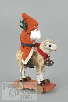 German composition Santa Claus riding a sheep pull toy, early 20th c