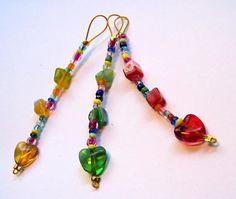 3 bunte Anhänger / Maschenmarkierer für Handy,  Tasche,  Schlüssel mit Millefiori-Perlen in schönen Fa
