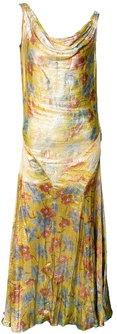 1920s Small Dress Gold Lame Flapper Floral Deco Great Gatsby Cowl Neckline Evening Wedding Bride Bridesmaid Evening Cocktail Glam Holiday