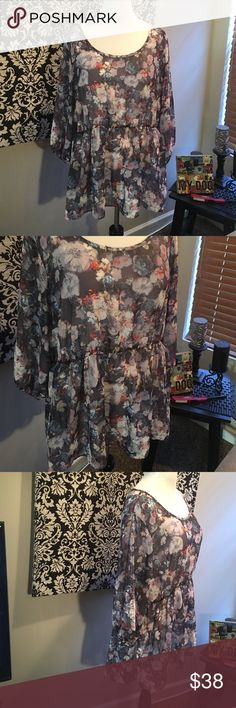 Torrid floral peplum blouse Torrid floral peplum top. Polyester. 3/4 sleeves. Elastic waistband and elastic hem on sleeves. Open keyhole back closure. Scoop neck, see through. New with tags, size 3X. torrid Tops Blouses