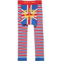 BLADE & ROSE Blue Stripe Cotton 'HRH' Leggings with Union Jack