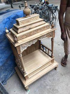 it's beautiful mandir design sagwan wooden small Mandir design by me and created by me Front Door Design Wood, Wood Bed Design, Pooja Room Door Design, Door Design Interior, Furniture Design, Design Bedroom, Wood Furniture, Centre Table Design, Wooden Sofa Set Designs