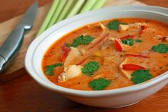 Tom Kha Gai, the popular Thai chicken soup with a coconut-infused broth.