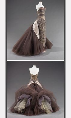 1955 'Butterfly' silk gown by Charles James vintage fashion style photo museum designer couture taupe brown grey tulle sheath wiggle train back over skirt strapless ball gown evening dress formal wear Charles James, Vintage Gowns, Vintage Outfits, Vintage Clothing, Beautiful Gowns, Beautiful Outfits, 1950s Fashion, Vintage Fashion, Edwardian Fashion