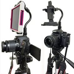 ChargerCity Exclusive DSLR Hot Shoe Flash Camera Mount for Apple ipad Mini Retina (1st, 2nd & 3rd Generation) Samsung Galaxy Tab 2 3 4 5 Note Dell Venue Pro Toshiba Encore Lenovo IdeaTab Asus Memo Pad 6 7 8 inch Tablet w/360º Swivel Adjust Video recording 1/4″-20 Bendy tripod Stick (8″ Long) & Mini Tablet Holder (Expand up to 5.5″ inches) *Use Both DSLR Camera & Selfie Record see yourself simultaneously*