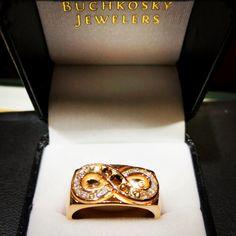 "5 Likes, 1 Comments - Sauli Hirsimaki (@saulidesignerjeweler) on Instagram: ""Men's custom infinity ring, set with graduated chocolate to colorless diamonds. Set in 14k rose…"""