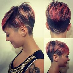 10 Amazing short hair cuts for a beautiful look Undercut Hairstyles, Funky Hairstyles, Undercut Pixie, Short Hair Cuts, Short Hair Styles, Shaved Hair Designs, Corte Y Color, Sassy Hair, Hair Tattoos
