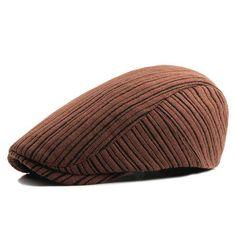 cad32e64f6592 Retro Men s Knitted Beret Hats - Khaki