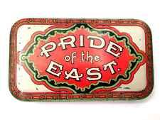 Tobacco Tin Pride Of The East Tobacciana Cigars Smoking Man Cave Antique Vintage