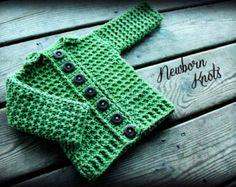 CROCHET PATTERN for Baby Boy or Girl Ribbed Collar Cardigan/Sweater Vest. Pattern number 036. Instant Download