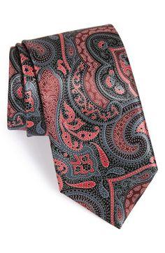 Men's Ermenegildo Zegna Paisley Silk Tie, Size Regular - Black