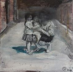 Geschwister 2009 Öl auf Leinwand 40x40cm // Michaela Helfrich Galerie