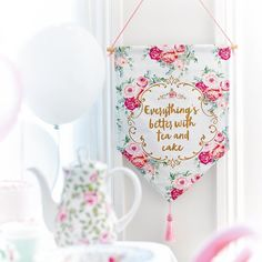 Talking Tables Truly Scrumptious Better With Tea Quote Tea Party Banner Pennant