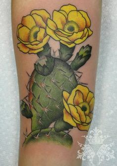 prickly pear tattoo, except watercolor with orange, red, or pink blossoms