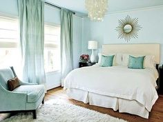 Cool soft blue bedroom design. I love the touches of cream and gold | best stuff