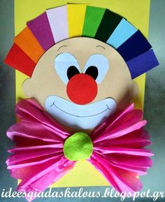 This page has a lot of free Clown craft idea for kids,parents and preschool teachers. Kids Crafts, Clown Crafts, Circus Crafts, Carnival Crafts, Summer Crafts, Diy And Crafts, Arts And Crafts, Paper Crafts, Diy Paper