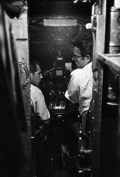 James Dean the Giant in an airplane cockpit