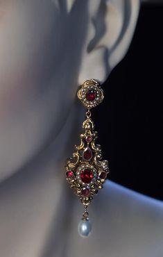 Antique Renaissance Revival Garnet Pearl Long Earrings - Antique Jewelry | Vintage Rings | Faberge Eggs