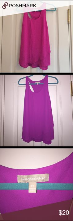 Banana Republic chiffon blouse tank This very girly tank is great for warmer weather and is super flattering. It's a medium and also hides and upper body insecurities. Great to dress up or wear with jeans! Banana Republic Tops Tank Tops