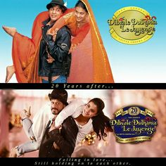 - Shah Rukh Khan and Kajol recreate the look of 'Dilwale Dulhania Le Jayenge' on the sets of 'Dilwale', as the movie completes 20 years today. Best Bollywood Movies, Bollywood Couples, Bollywood Stars, Bollywood Celebrities, Shahrukh Khan And Kajol, Shah Rukh Khan Movies, Dilwale 2015, Indian Movies, Couples