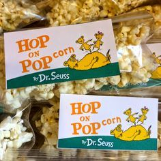 Cost: $2 for 30 snack bags of popcorn for Dr. Seuss week snack. Hop on POPcorn. Pdf printable.