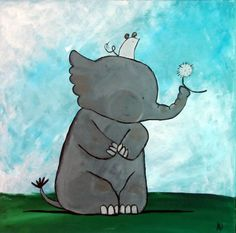 Elephant and Mouse Original Painting on Wood for Kids by andralynn