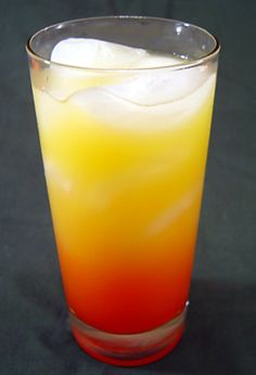 Tequila Sunrise. (Suggestion: Add a shot of triple sec to make it smoother.) (Alternate: Change the tequila for dark rum and you get a Sundowner.)