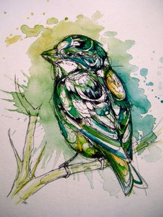 Ink and watercolor bird