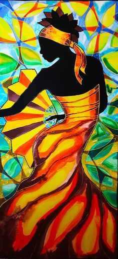 African Dancer Painting - Alycia In Belize by Lee Vanderwalker Black Women Art, Black Art, African Art Paintings, African Abstract Art, Afrique Art, Caribbean Art, Art Africain, African American Art, Silk Painting