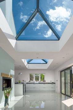 House Extension Plans, House Extension Design, Roof Extension, Orangery Extension, Bungalow Extensions, House Extensions, Kitchen Extension Glass Roof, Lantern Roof Light, Skylight Design