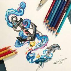Watercolor anchor/sea/dolphin/fish tattoo