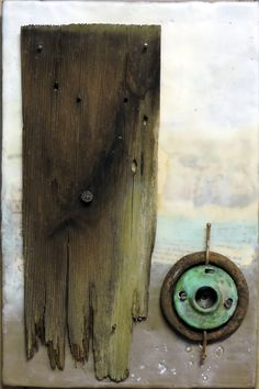 Art Collage: Encaustic Beeswax Mixed Media Painting With Barn Wood, Found Vintage Rusty Metals and Nails. by theARTfarmer on Etsy