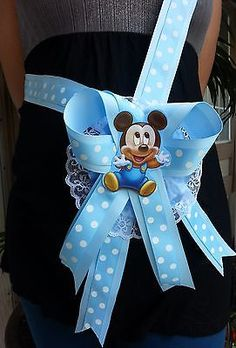 Baby Shower Mickey Mouse Mom To Be It's a Boy Sash Blue Ribbon and Corsage