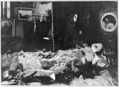 Post-Mortem Photograph of Queen Victoria, above her a Post-Mortem photograph of her beloved Prince Albert.