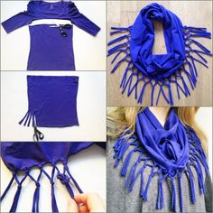 How to DIY Refashion a T-shirt into a Scarf #DIY #fashion #repurpose