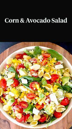 Mezze Platter Ideas, Gluten Free Recipes, Vegetarian Recipes, Corn Avocado Salad, Salad Recipes For Dinner, Quick Snacks, Easy Salads, Yummy Food, Delicious Recipes