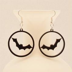 Vampire Bat Earrings - Spooky Halloween Jewelry, Laser Cut, Gifts under 20