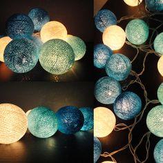Cotton balls lights blue