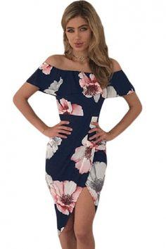 Kayık Yaka Çiçek Desenli Elbise