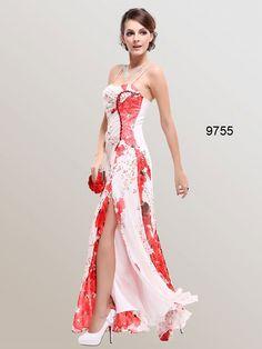 Ever Pretty Spaghetti Straps Ruffles Chiffon Floral Printed Evening Dress Floral Chiffon Dress, Red Chiffon, Floral Dresses, Red Bridesmaid Dresses, Prom Dresses, Dress Prom, Long Dresses, Bridesmaids, Party Dress