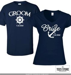 A premium nautical inspired Bride and Groom (His & Her) shirt set made especially for you. HOW TO ORDER: From drop down menu, please choose the following for each shirt: • Size ***State the date to be added in the notes to seller section when purchasing the listing. ----- Women - V-Neck